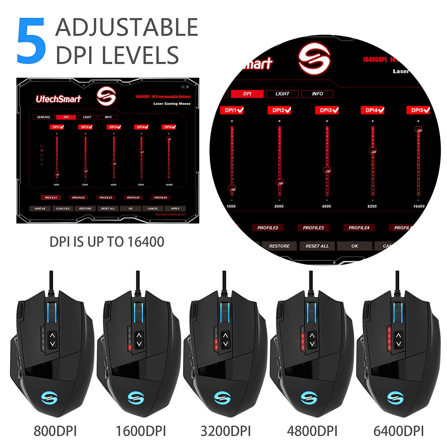 Interchangeable Side Button Gaming Mice UtechSmart Venus Gaming Mouse Programmable Buttons 16400DPI High Precision Laser RGB MMO Gaming Mouse Breathing Light,Ergonomic Optical