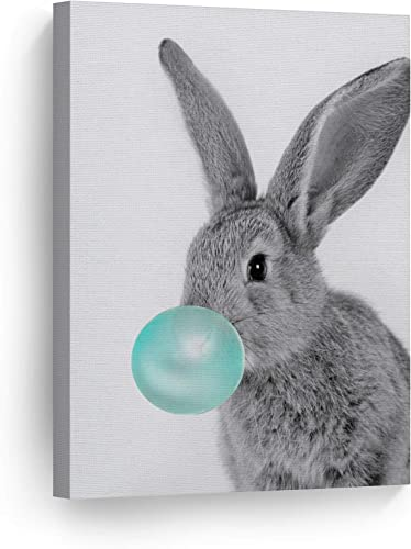Smile Art Design Bunny Rabbit Animal Bubble Gum Art Teal Blue Canvas Print Black and White Wall Art Home Decoration Pop Art Living Room Kids Room Decor Nursery Ready to Hang Made