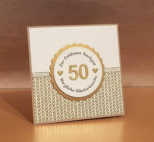Karte Goldhochzeit Goldene Hochzeit 50 Hochzeitstag Handarbeit