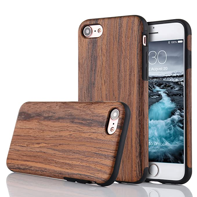 LCHULLE Kompatibel mit iPhone 5/5S/SE Hülle, Premium Handmade [Echtes Holz Rücken Flexibel] TPU Silikon Ultra Slim Back Schut