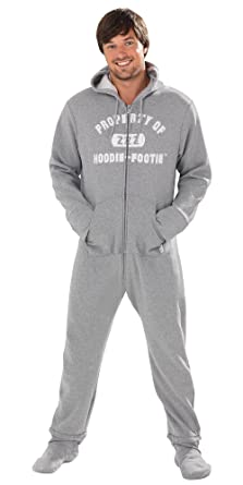 PajamaGram Men's Hoodie-Footie Gray Varsity Onesie Pajamas at ...