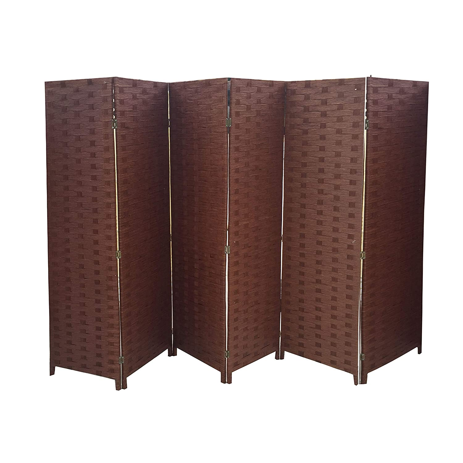 Ballino Hand Made Wicker Room Divider/Partition/Privacy Screen, Wood, dark Brown, 240 x 5 x 170 cm 3/4/5/6 panel room divider partitions 3 colors (3panel brown012)