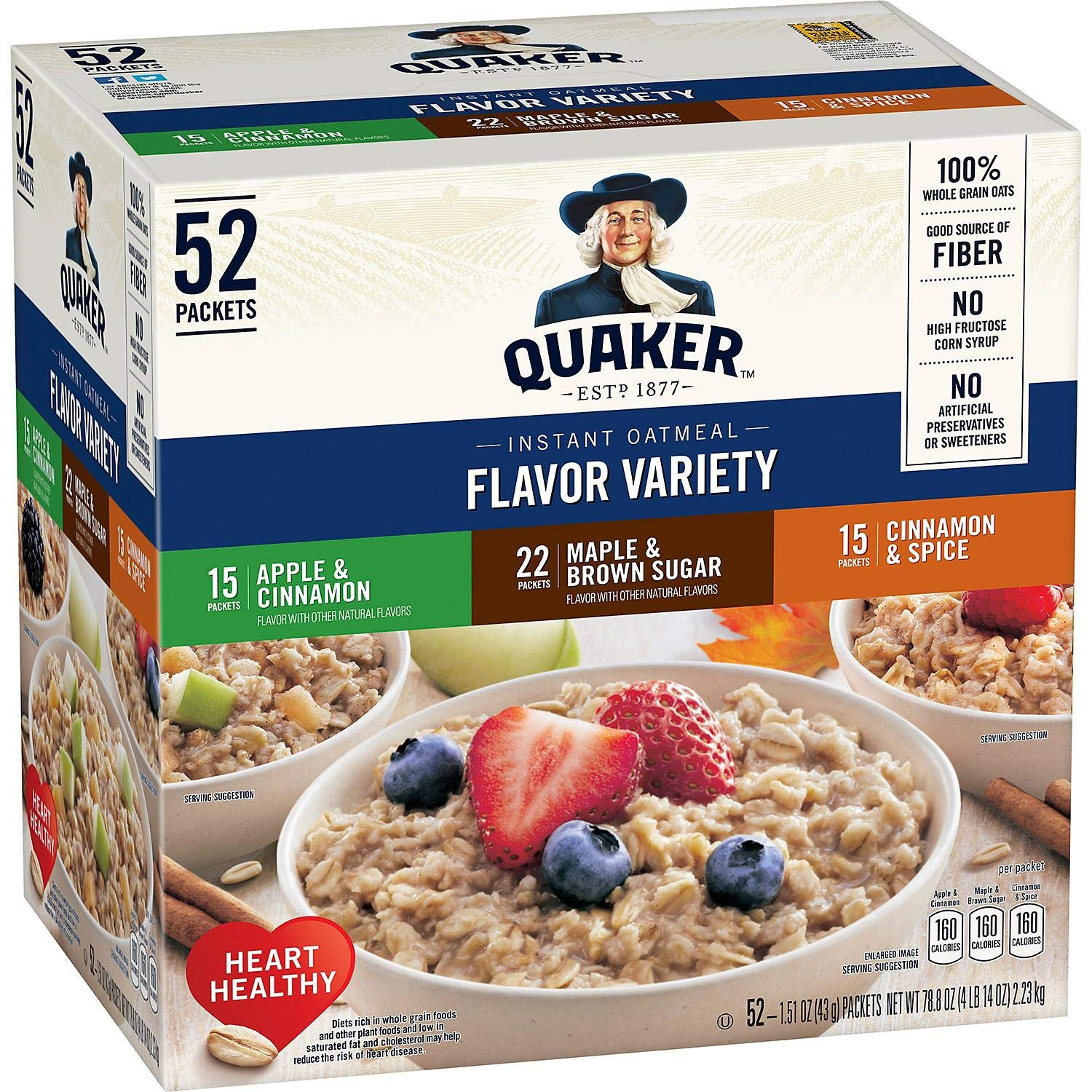 QUAKER VARIETY OATMEAL HOT CEREAL INSTANT 76.2 OZ - 0030000561951