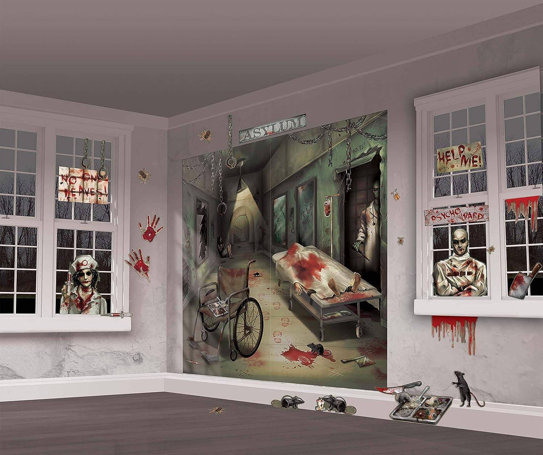 Amscan 670357 Asylum Scene Setters | Mega Value | Halloween Wall Decorating Kit 65
