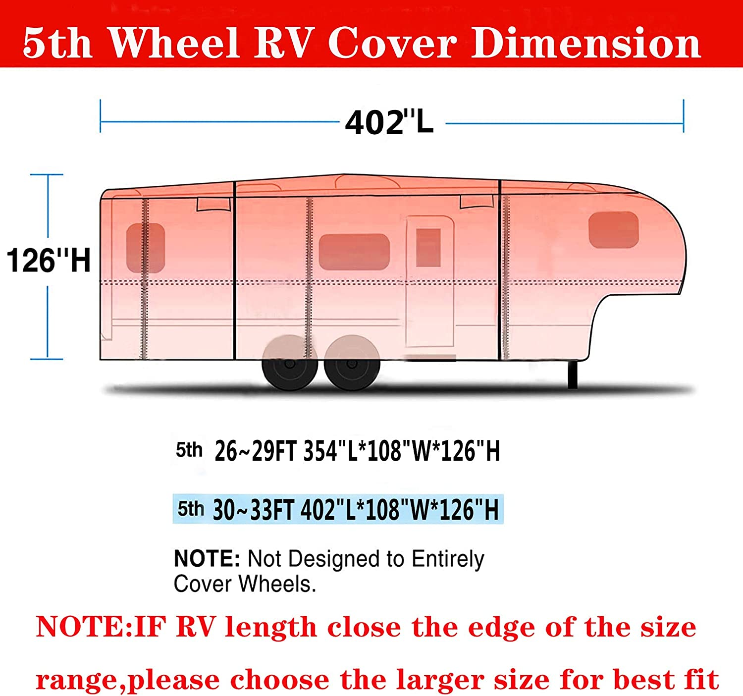 UV Indeed BUY Travel Trailer RV Cover,Waterproof /& Windproof Camper Cover Fits 30~33 FT RV Trailer,6 Layers Top Prevent Top Tearing,Durable Water Resistant RV Covers