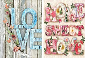 2 Pcs Diamond Painting Kits for Adults,Home Sweet Home and Love 5D DIY Full Round Drill Crystal Rhinestone Embroidery Arts Craft Wall Decor for Home Wall Decor Adults and Kids, 12 x 16 Inches