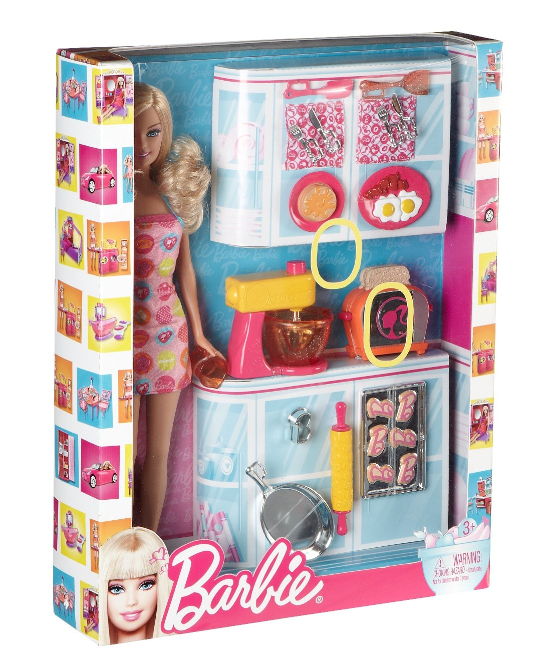 Barbie doll and kitchen accessory set amazon co uk toys games