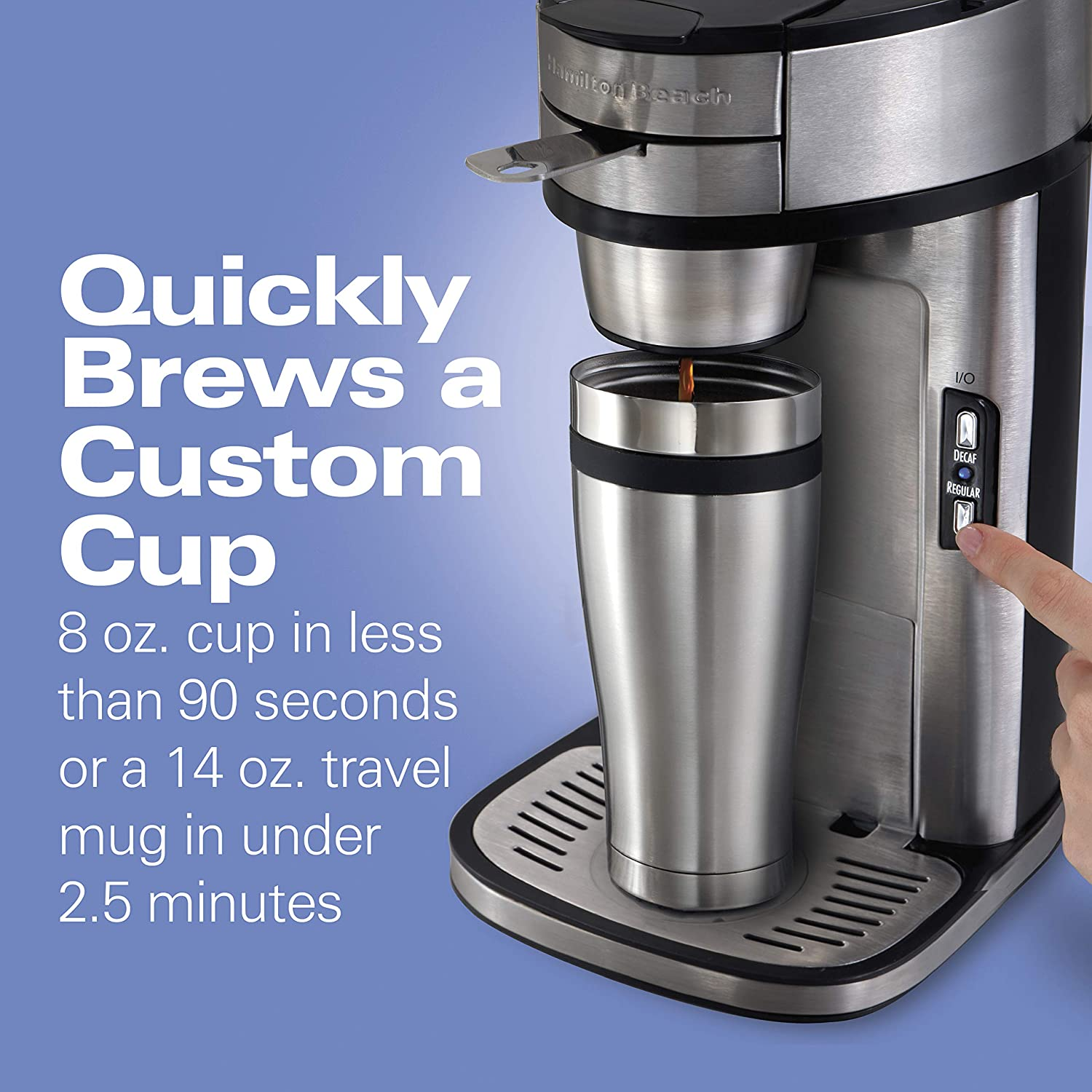 Hamilton Beach Scoop Single Serve Coffee Maker, Fast Brewing, Stainless Steel