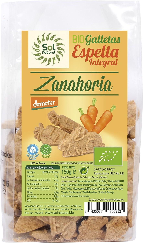 Sol Natural Mini Galletas de Espelta Integral, con Zanahoria ...