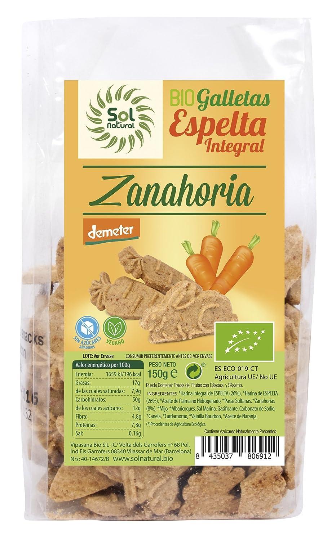 Sol Natural Mini Galletas de Espelta Integral, con Zanahoria - Paquete de 6 x 150 gr - Total: 900 gr: Amazon.es: Alimentación y bebidas
