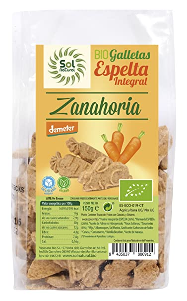 Sol Natural Mini Galletas de Espelta Integral, con Zanahoria - Paquete de 6 x 150 gr - Total: 900 gr