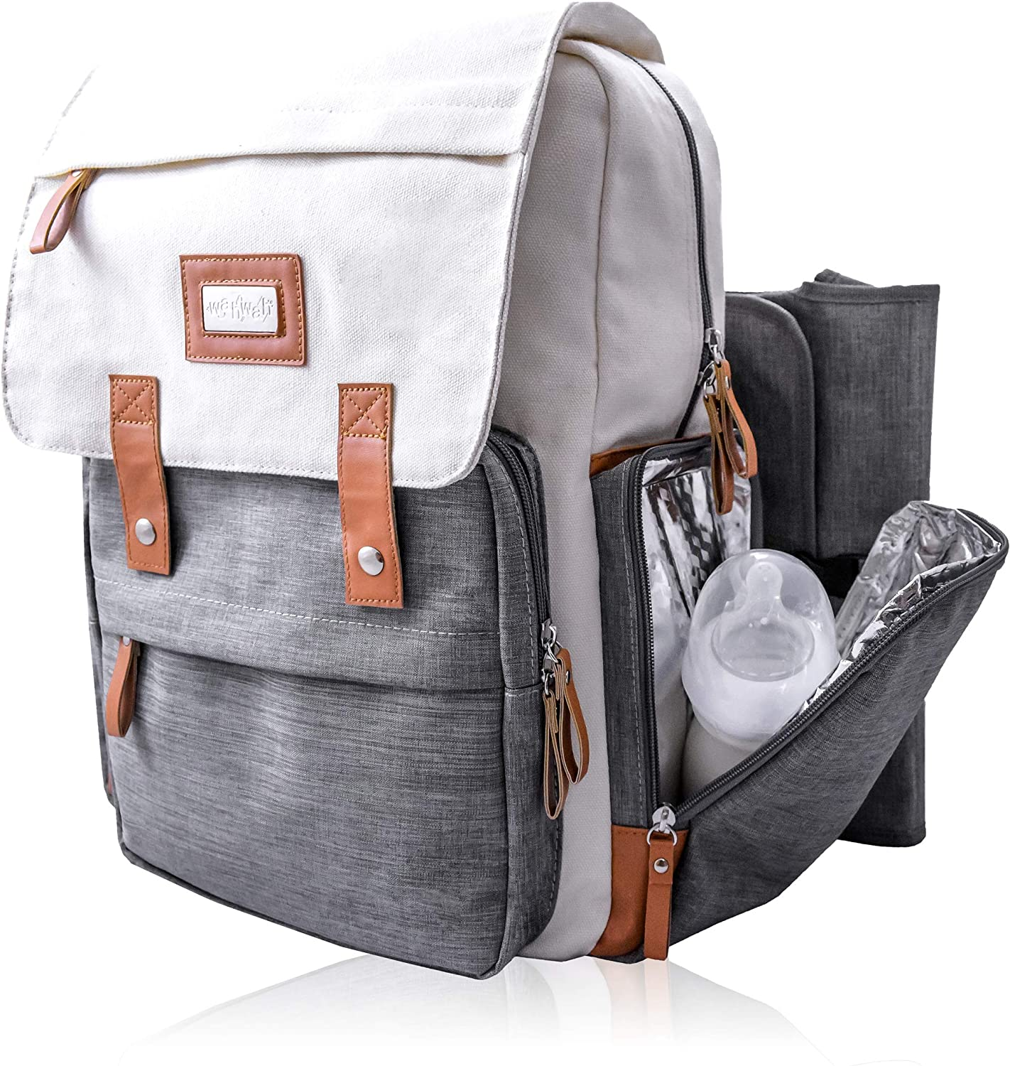 wahwah's diaper bag backpack, waterproof bag, insulated side pockets messenger bag, multi-functional with bonus straps and removable changing pad (cream/gray)