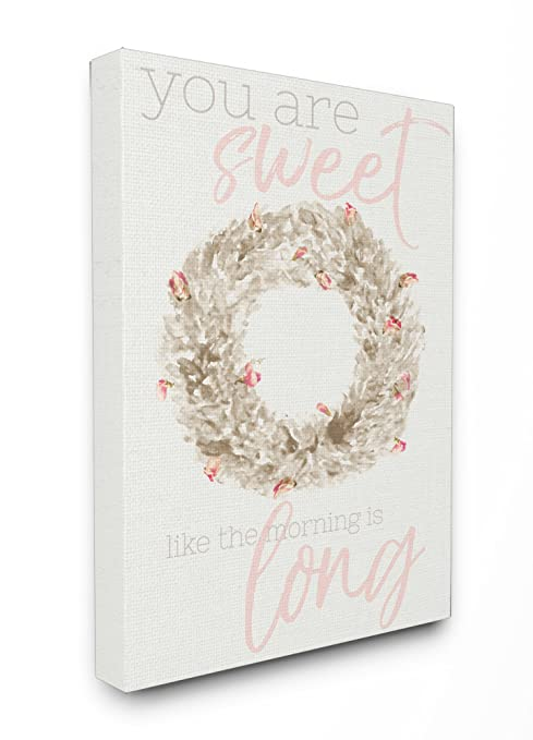 Stupell Industries Sweet as the Morning is Long Watercolor Wreath Wall Plaque Art Proudly Made in USA 10 x 0.5 x 15