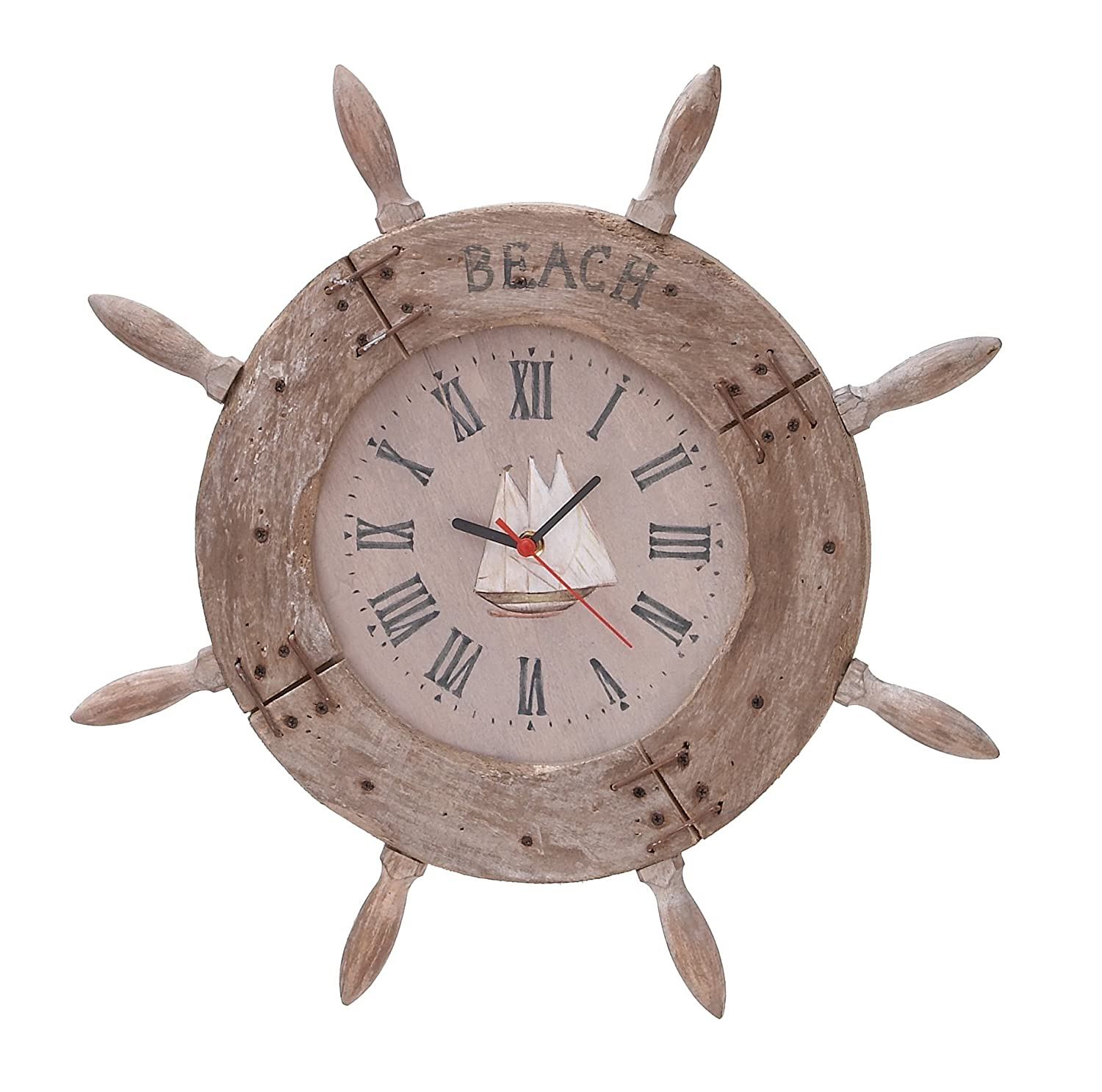 Amazon deco 79 wood ship wheel clock nautical maritime decor amazon deco 79 wood ship wheel clock nautical maritime decor 20 inch home kitchen amipublicfo Images