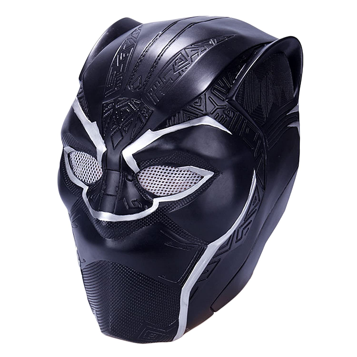 Trippy Lights 2018 Black Panther Movie T'Challa Superhero Latex Costume Mask Helmet