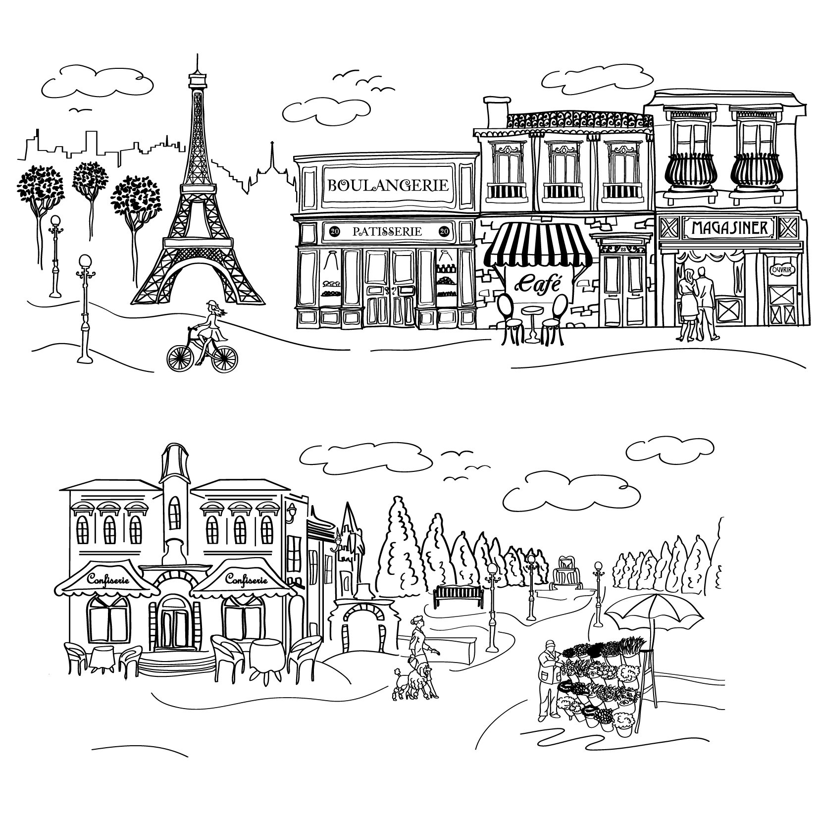 Doodle Paris Scene - Custom Vinyl Wall Art Decal Decor, Wall Decor, for Homes, Offices, Kids Rooms, Nurseries, Schools, High Schools, Colleges, Universities, Interior Designers, Architects, Remodelers