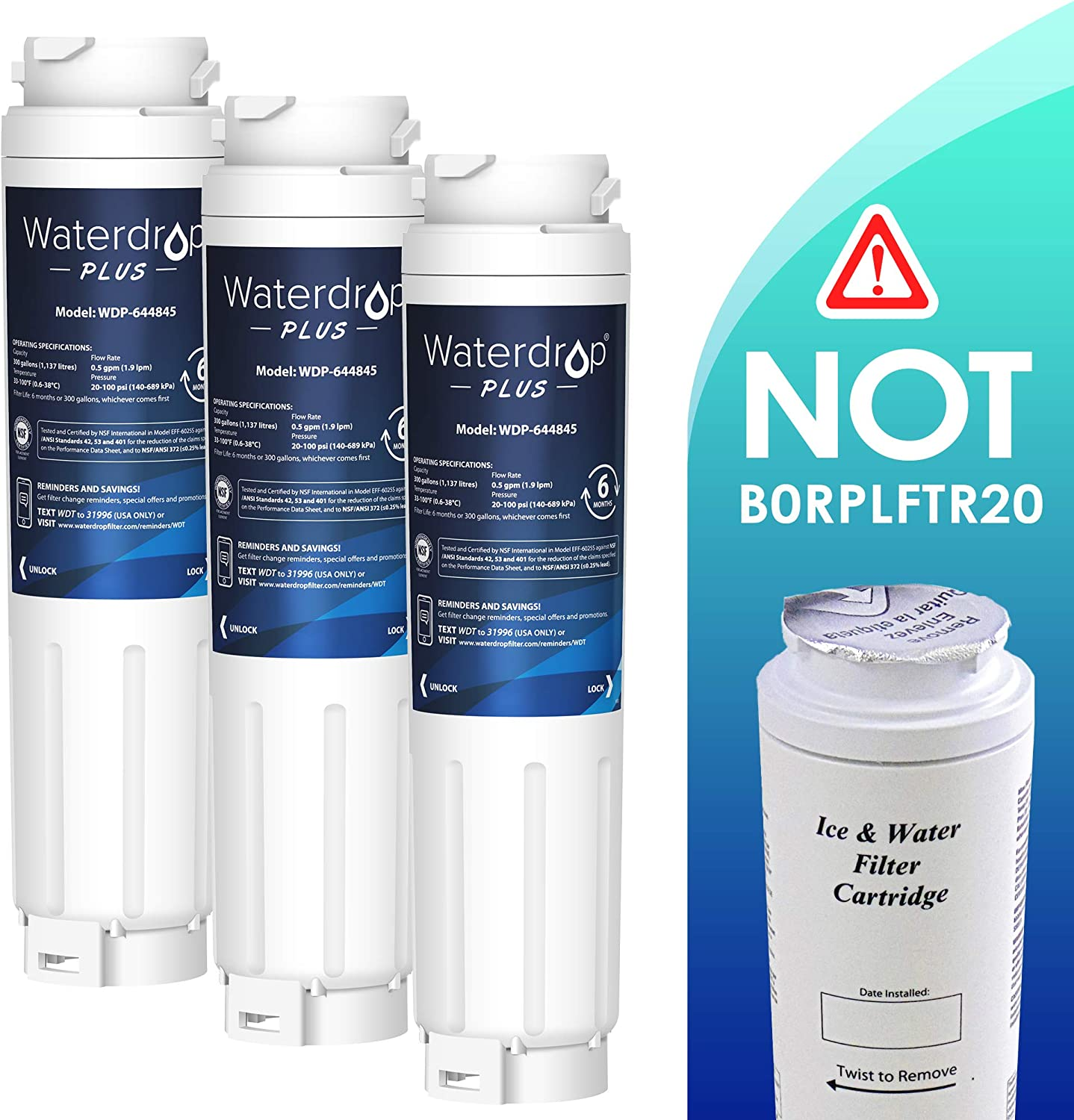 0060820860 3 x Waterdrop Fridge Filter Replacement for Haier 0060218743