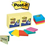 Sticky Post It Notes 3x3 Yellow & Colorful Combo Pack with 5 Color Flag Set by 3M|Office Desk Stationery Post Its|Pop Up Memo Note Pad Easy Dispensing