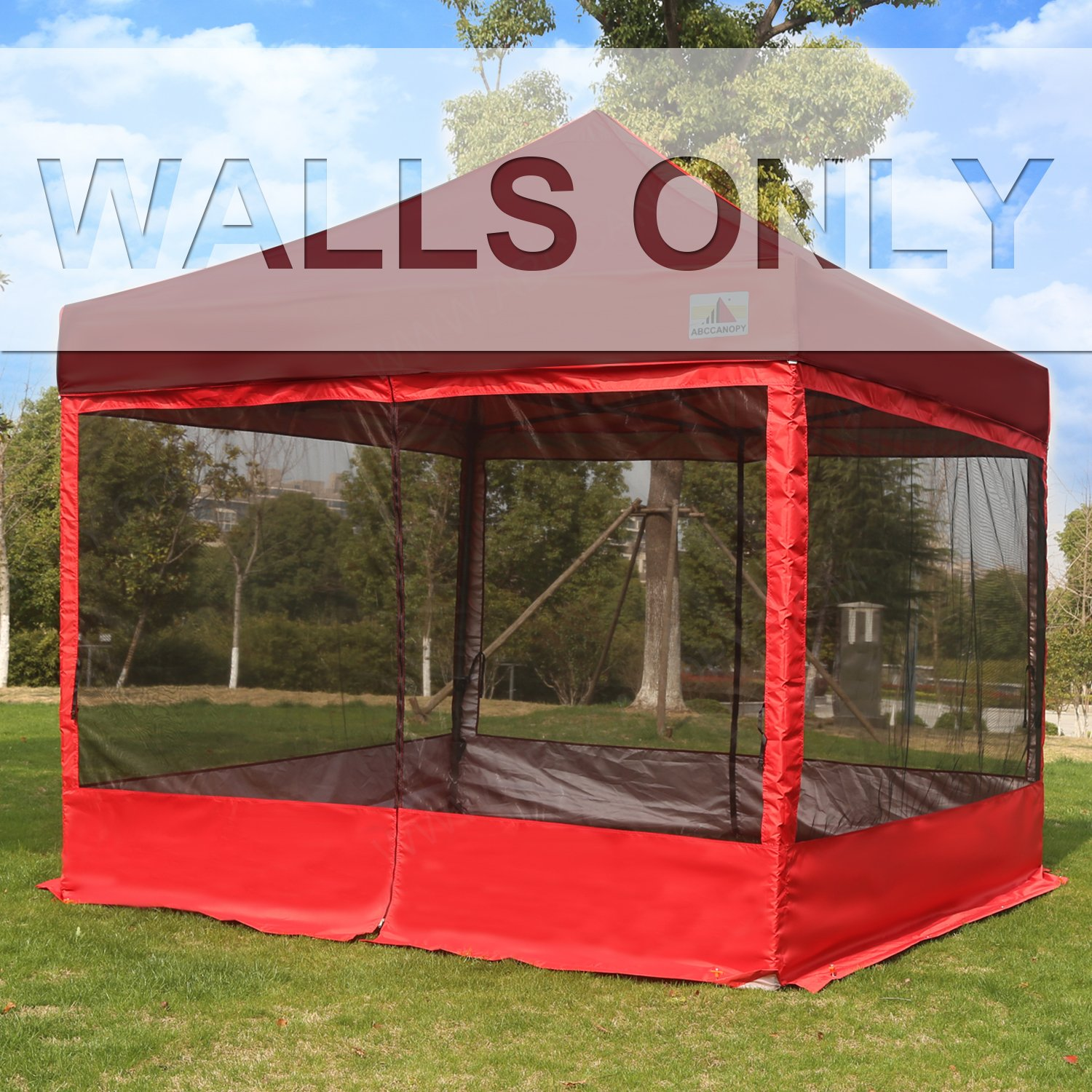 ABCCANOPY Silver Coated Screen Wall Mesh Screen House Zippered Wall Panels for 10' x 10' Canopy (Red)