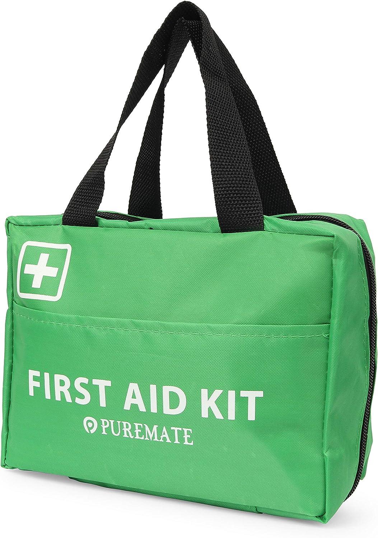 Kit de primeros auxilios PureMate 225 piezas con hielo, kit de lavado de ojos y manta de emergencia para el hogar, automóvil, campamento