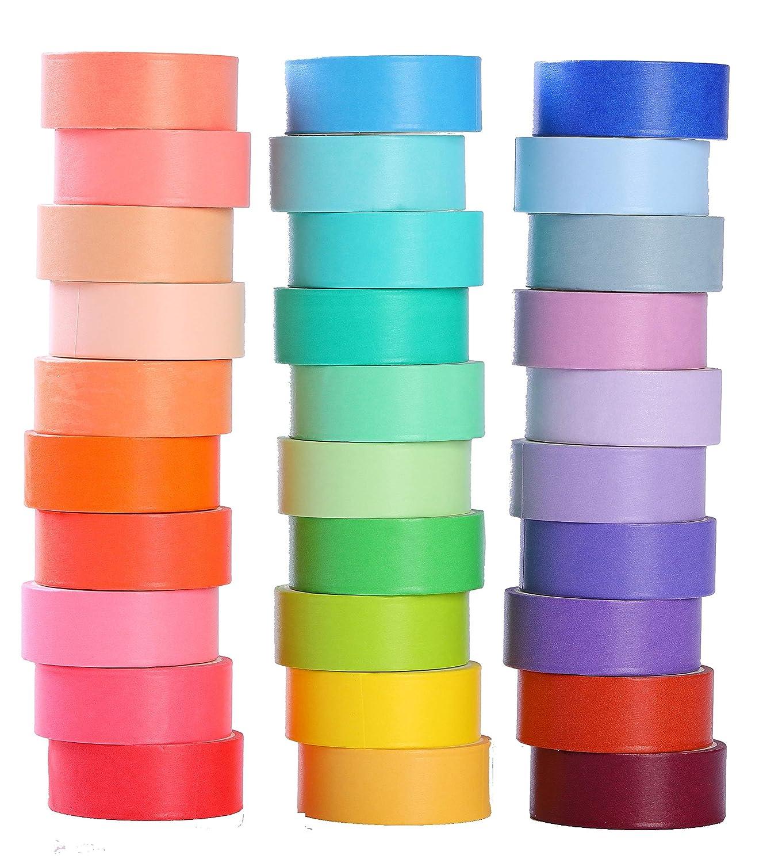 30 Rolls 15mm Wide Washi Masking Tape Set, Colorful Decorative Washi Masking Tape,Decorative Writable Washi Craft Tape for DIY Crafts Book Designsl LEOTER