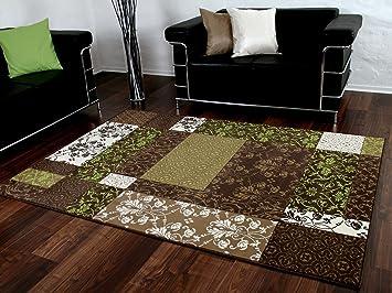 Designer teppich passion braun grün beige patchwork karo in