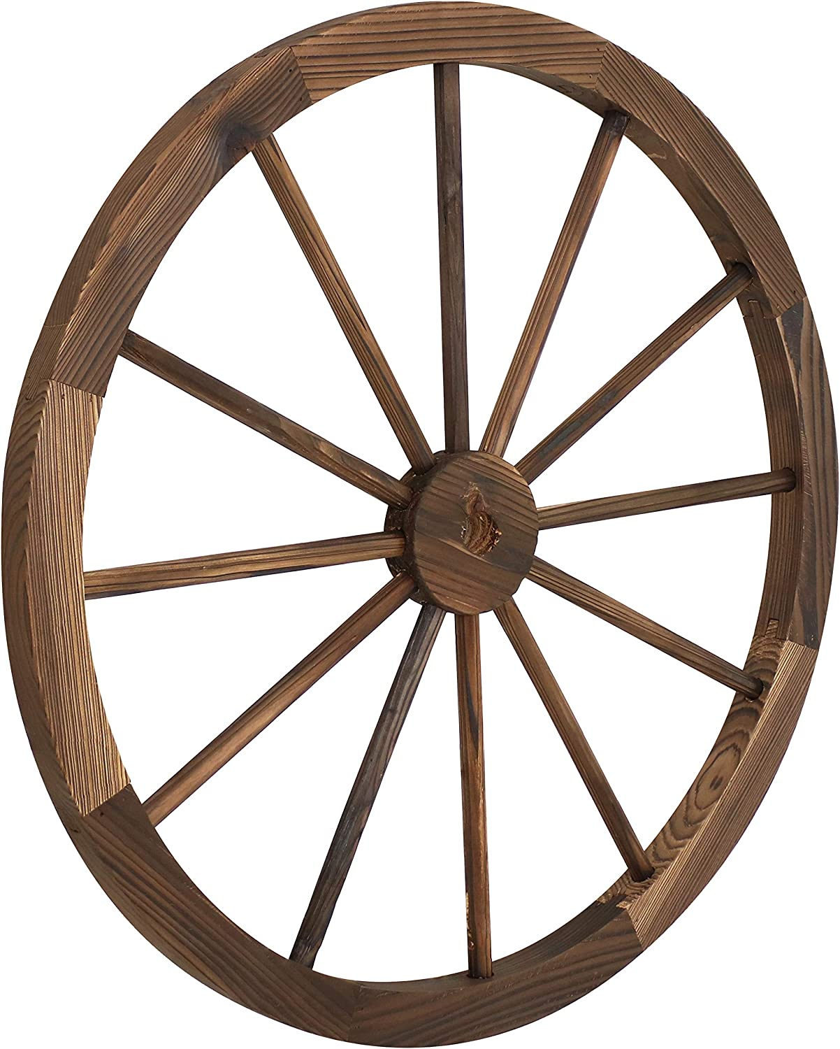 Sunnydaze Decorative Wooden Wagon Wheel - Natural Fir Wood - Rustic Western Indoor and Outdoor Decor - Ideal for Kitchen, Garden, Porch, Patio, Yard and Landscape - 29-Inch - Natural