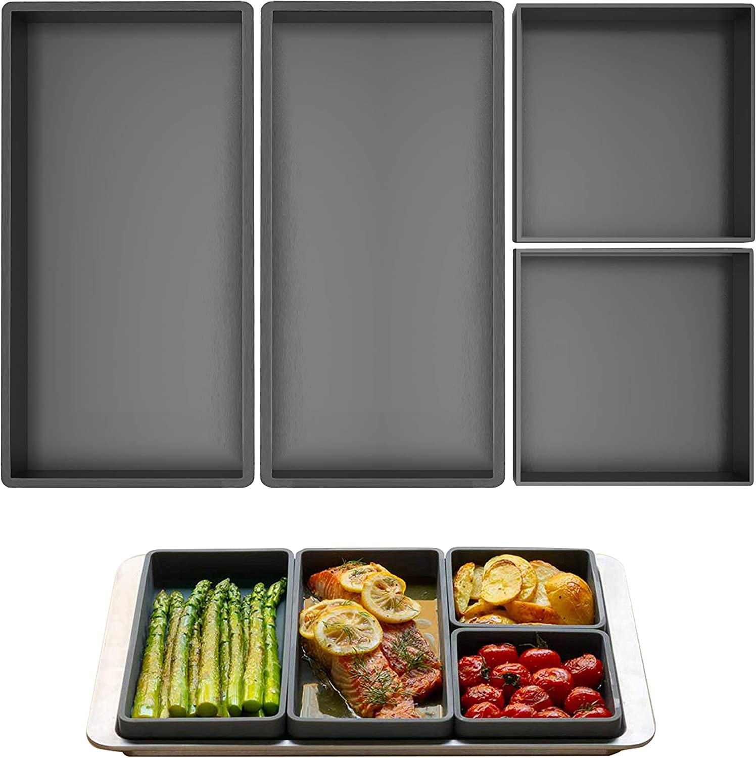 Cookery : Cheat Sheets Silicone Baking Trays Cooking Reimagined, Sheet Pan Dividers, Nonstick Food Grade Silicone, Oven-Safe, Fit on Standard Sheet Pan, Dishwasher Safe, Easy to Clean. (Set of 4 pcs)