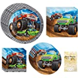 Monster Truck Party Supplies, 16 Guests, 64 Pieces, Disposable Paper Dinnerware Plates and Napkins, Birthday Jam