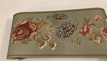 Flowers On Green Pre Pasted Wallpaper Border
