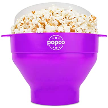 The Original Popco Silicone Microwave Popcorn Popper with Handles, Silicone Popcorn Maker, Collapsible Bowl Bpa Free and Dishwasher Safe - 10 Colors Available (Purple)