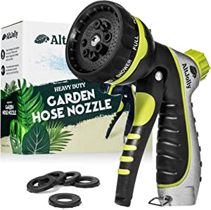 Garden Hose Nozzle Sprayer – Heavy Duty Hose Head withRotating Spray Setting Technology – Wash Your Car or Water Your Lawn and Plants with This High Pressure Metal Watering Attachment for Yard Hoses