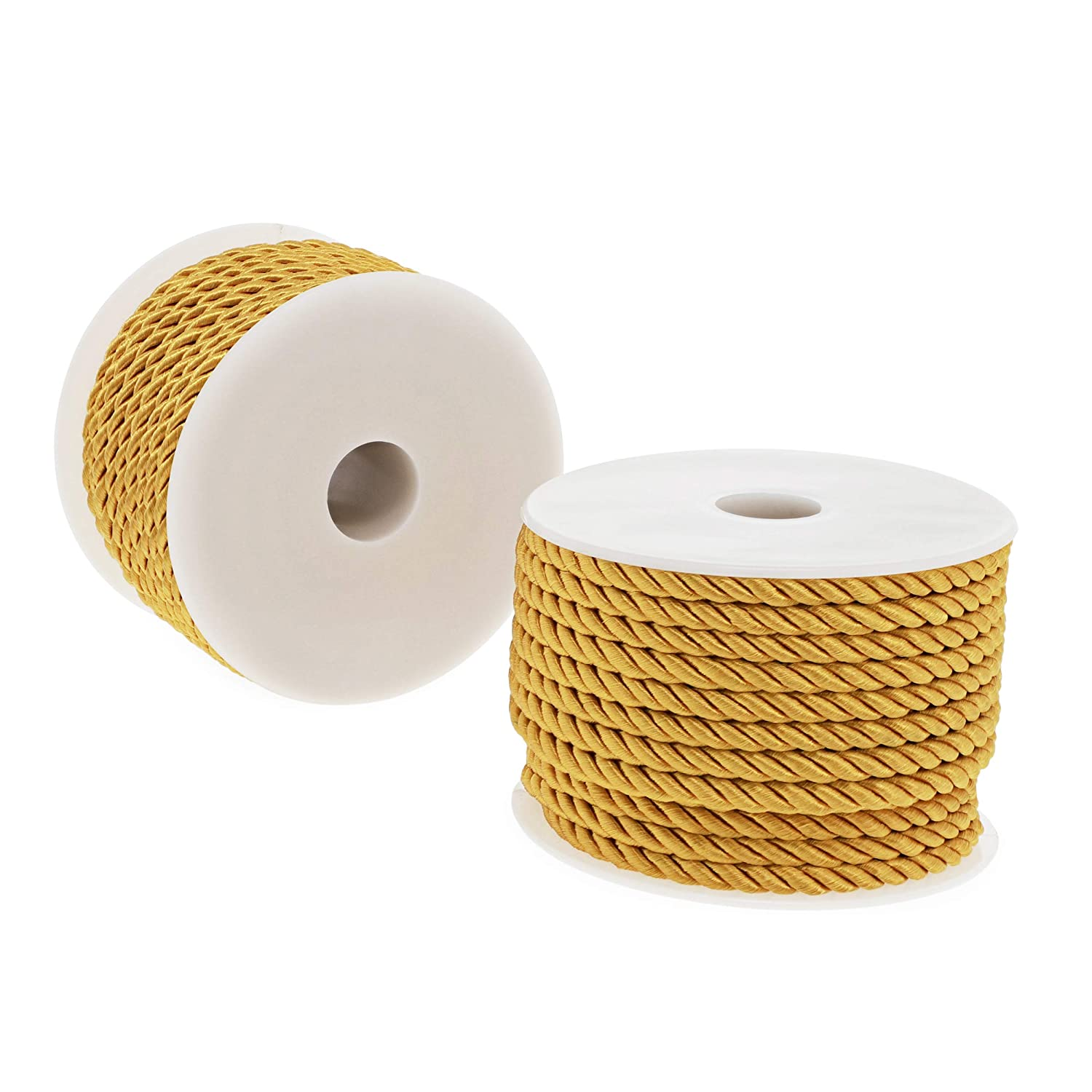 18 Yards, Gold, 2 Pack Nylon Twisted Cord Trim Rope