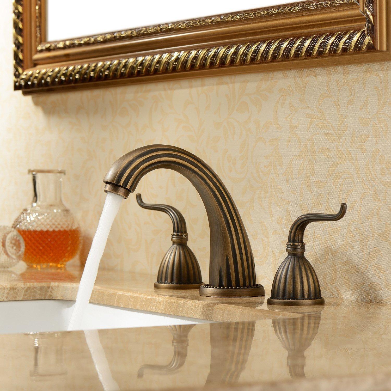 Lightinthebox Luxury Classic Antique Inspired Solid Brass Deck Mount Two Handles Bathroom Sink Faucet Bath Tub Mixer Taps Unique Desinger Vanity Cooper Plumbing Fixtures Roman Tub Faucets