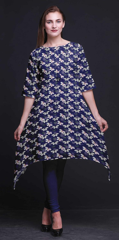 Bimba Printed Tops for Women Asymmetric Kurti Summer Dress for Girls