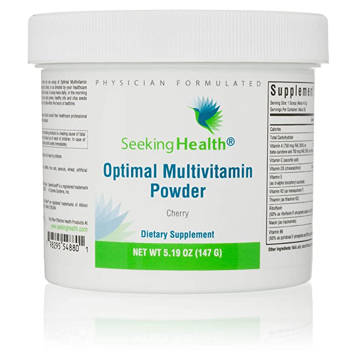 Seeking Health   Optimal Multivitamin Powder   30 Servings   Vegetarian   Natural Cherry Flavor   Provides Potent Bio-available Nutrients for Immunity, Digestion, Energy, Antioxidant Support