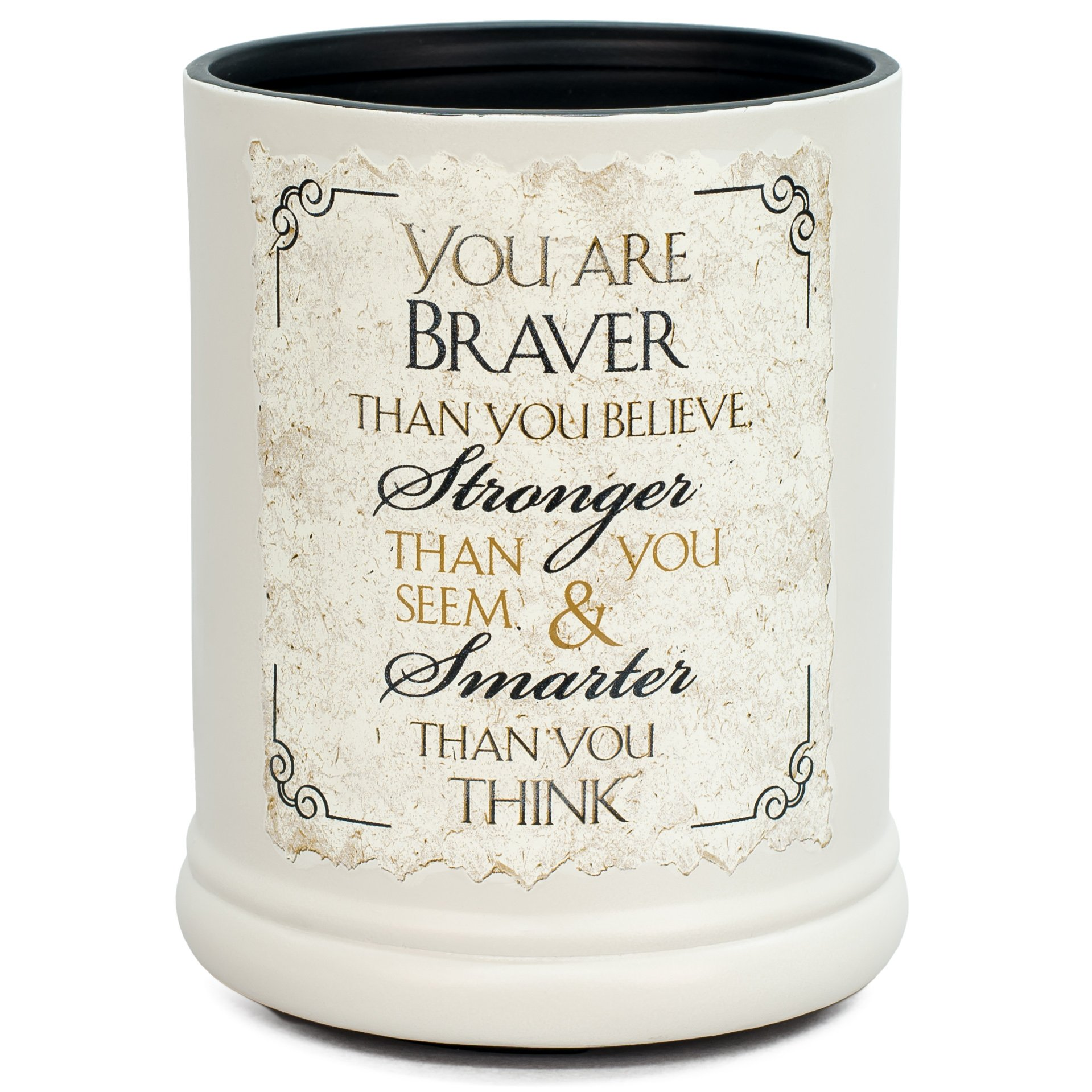Elanze Designs You are Braver Stronger Smarter Ceramic Stoneware Electric Jar Candle Warmer