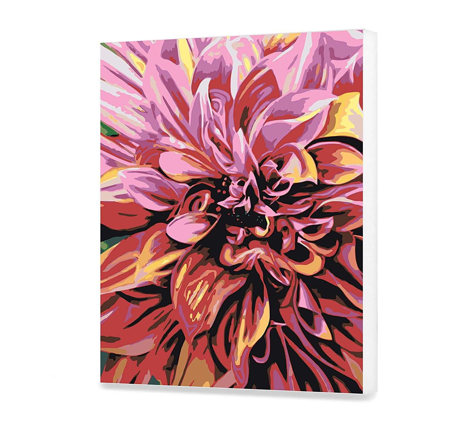Dahlia Paint By Numbers For Adults Beautiful Acrylic Floral Painting On Canvas Flower Paint By Your Own DIY Kit Oil Wall Art Decoration