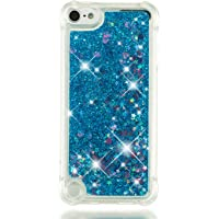 SEYCPHE iPod touch 5 Case,Flowing Liquid Floating Bling Shiny Sparkle Glitter Clear Plastic Hard Case Cover For Apple iPod touch 5, Blue little love heart