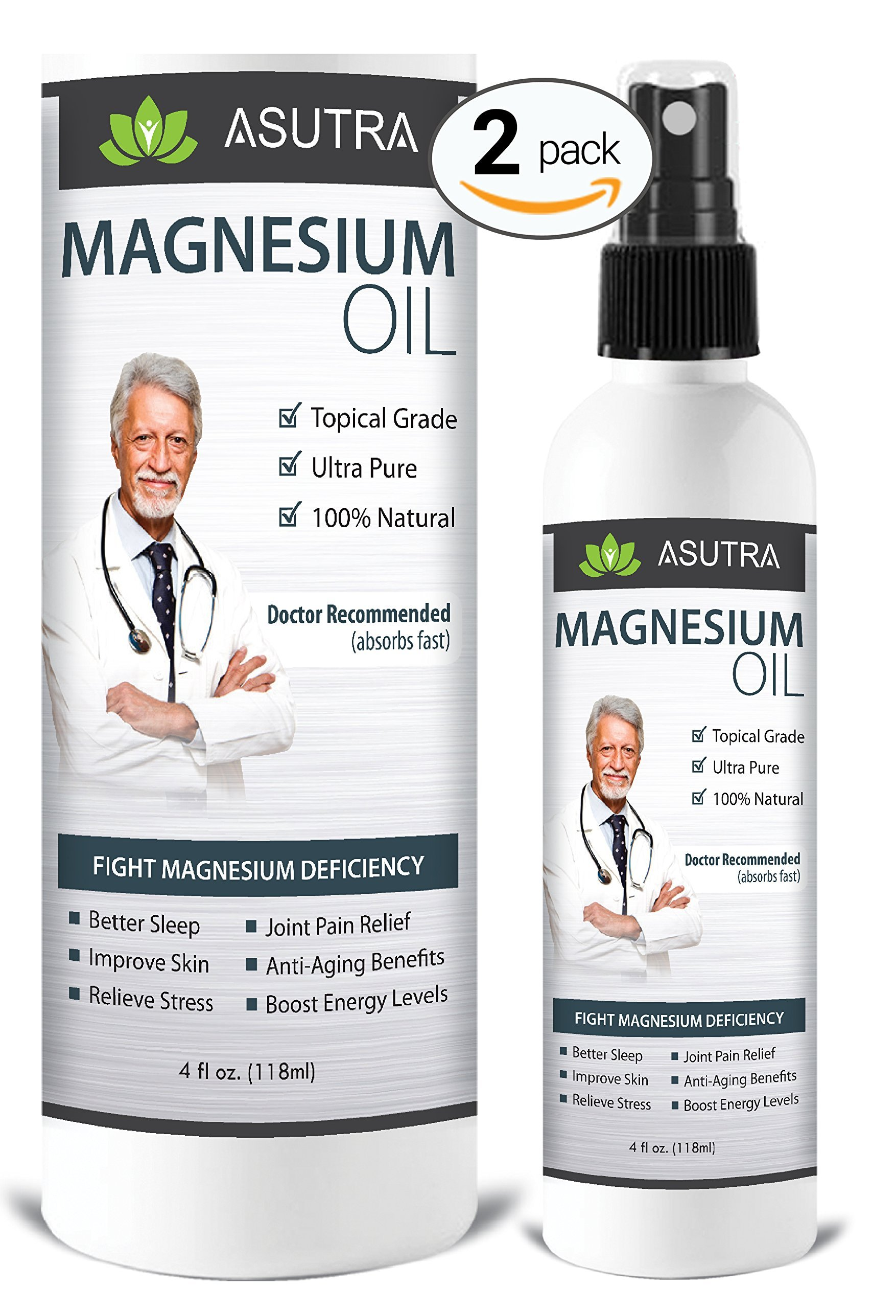 ASUTRA 2 Bottle Value Pack - Pure Zechstein Magnesium Oil Spray - LESS ITCH & LESS STING/Effective Rapid Transdermal Absorption - Ultra Pure & Potent + FREE Magnesium E-Book