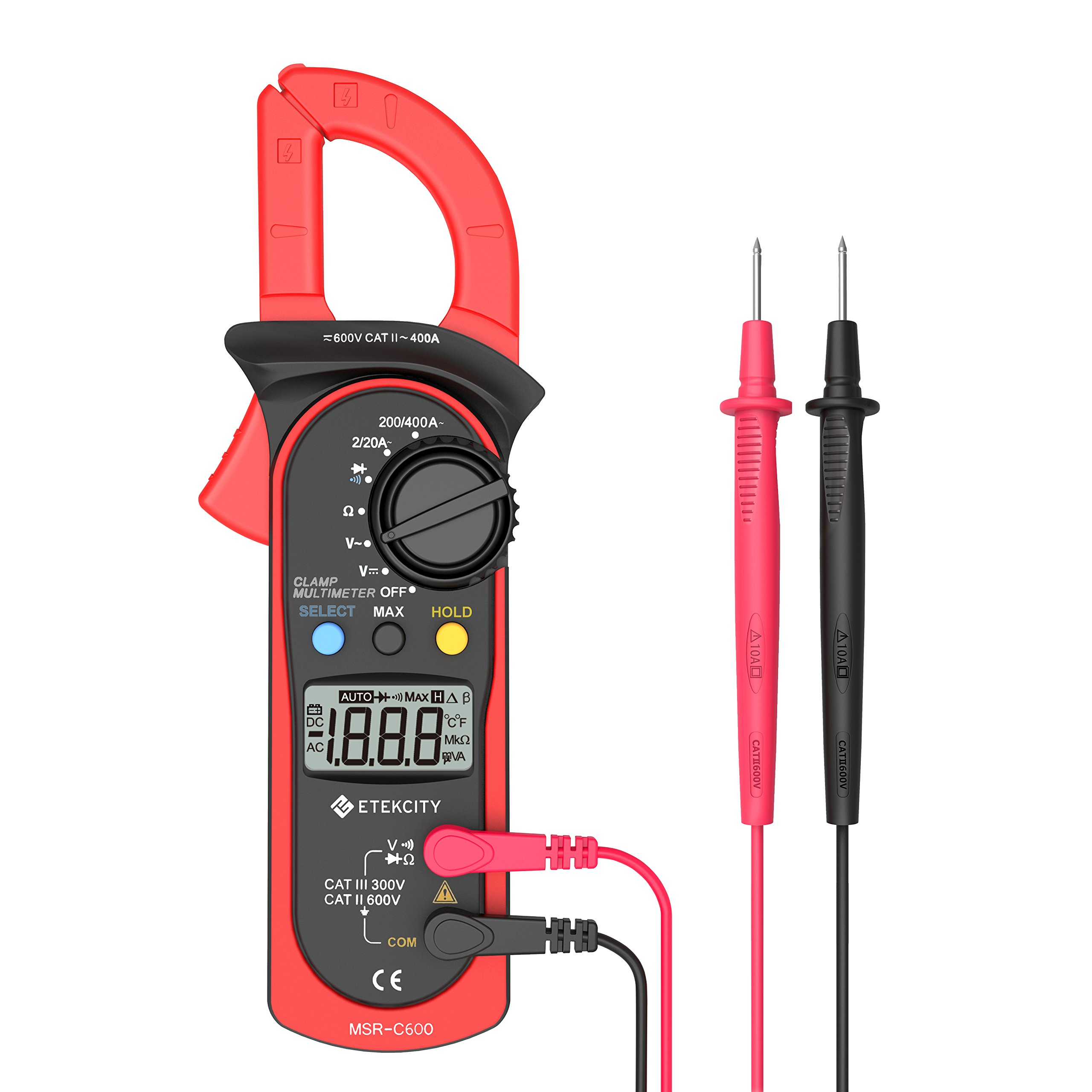 Etekcity MSR-C600 Digital Clamp Meter Multimeters, Auto-Ranging Multimeter AC/DC voltmeter with Voltage, AC Current, Amp, Volt, Ohm, Diode and Resistance Test Tester