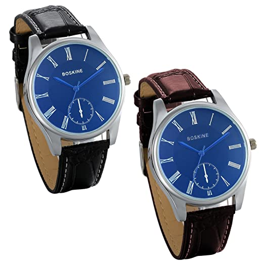 5b85eaf0dc Amazon.com: JewelryWe Valentine Pair of Couple Lovers Watches Casual ...