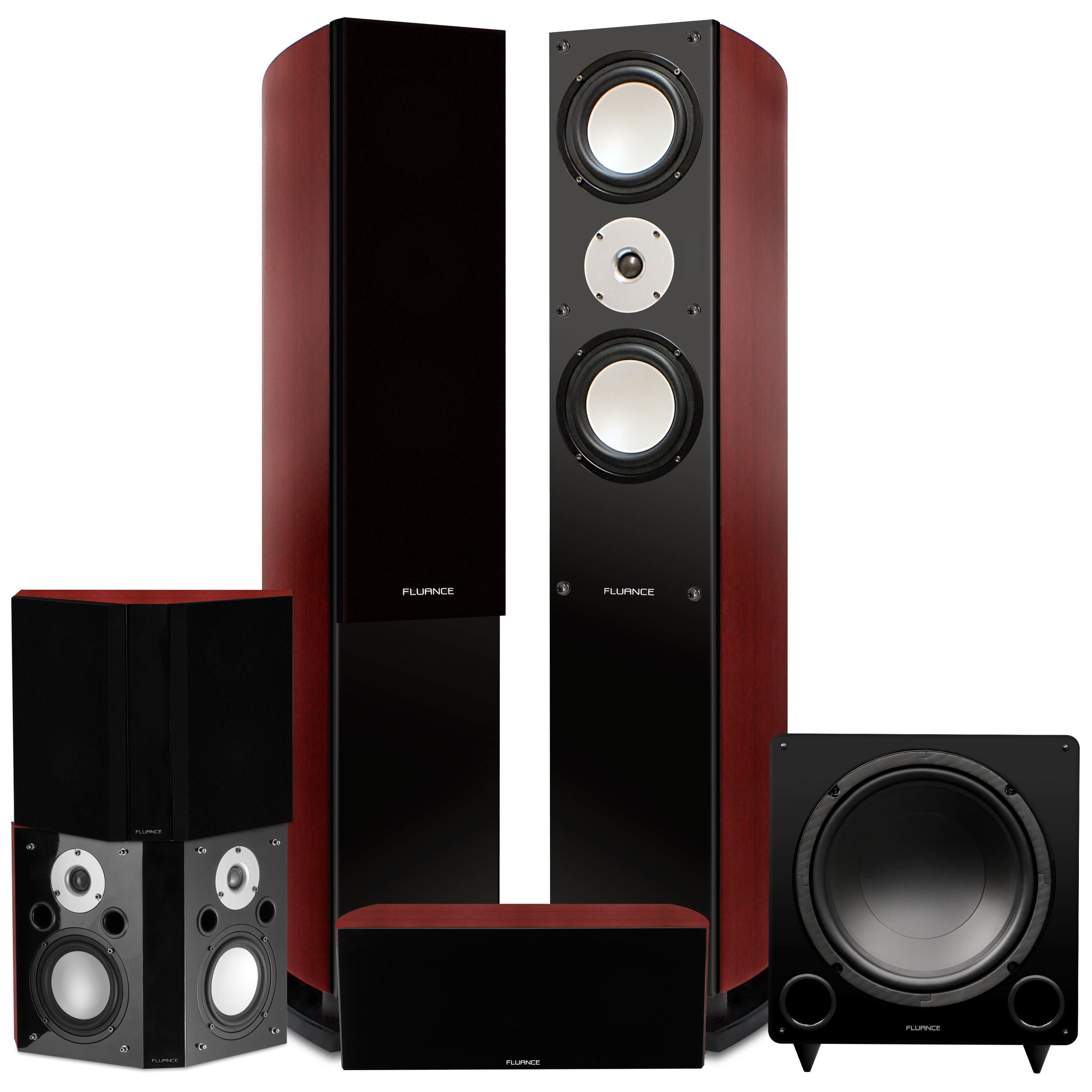 Fluance Reference Series Surround Sound Home Theater 5.1 Channel Speaker System including Three-way Floorstanding Towers, Center Channel, Bipolar Speakers and DB12 Subwoofer – Mahogany (XL51MB)