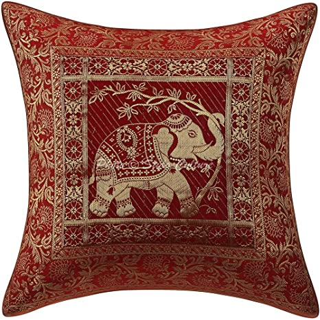 Bohemian Cushion Covers 16x16 Red Brocade Elephant Set Of 5 Scatter Pillowcase