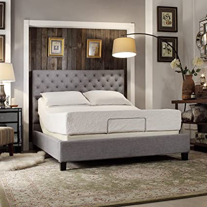 c344ae3f7f Amazon.com - ModHaus Modern Diamond Button Tufted Upholstered Padded Square  Gray Queen Headboard and Frame Bed Includes Living (TM) Pen -