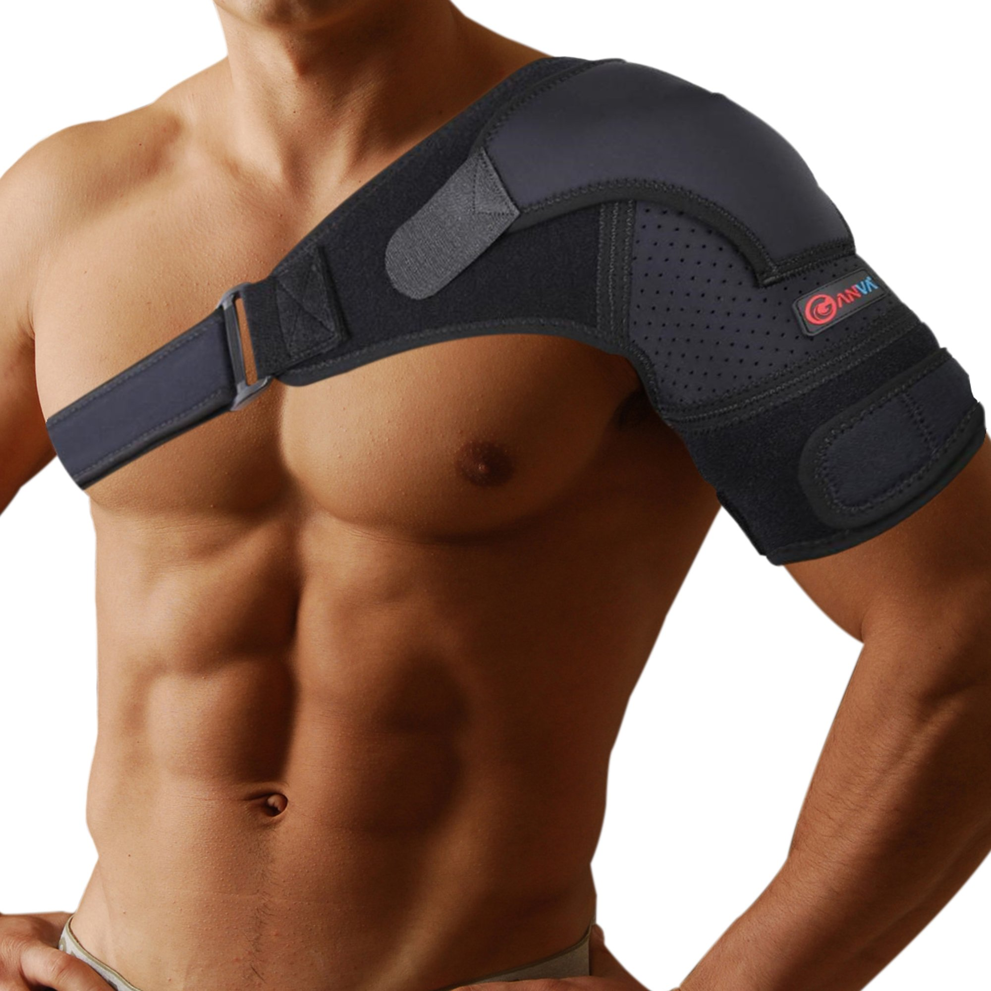 Shoulder Support Brace - Shoulder Brace Rotator Cuff | Dislocated AC Joint, Compression Sleeve Recovery, Shoulder Injuries, Adjustable Size Right and Left Arm for Men and Women by GANVA