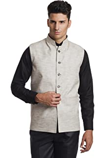 dfb5825c41 WINTAGE Men's Linen Blend Bandhgala Party Nehru Jacket Waistcoat - Four  Colors