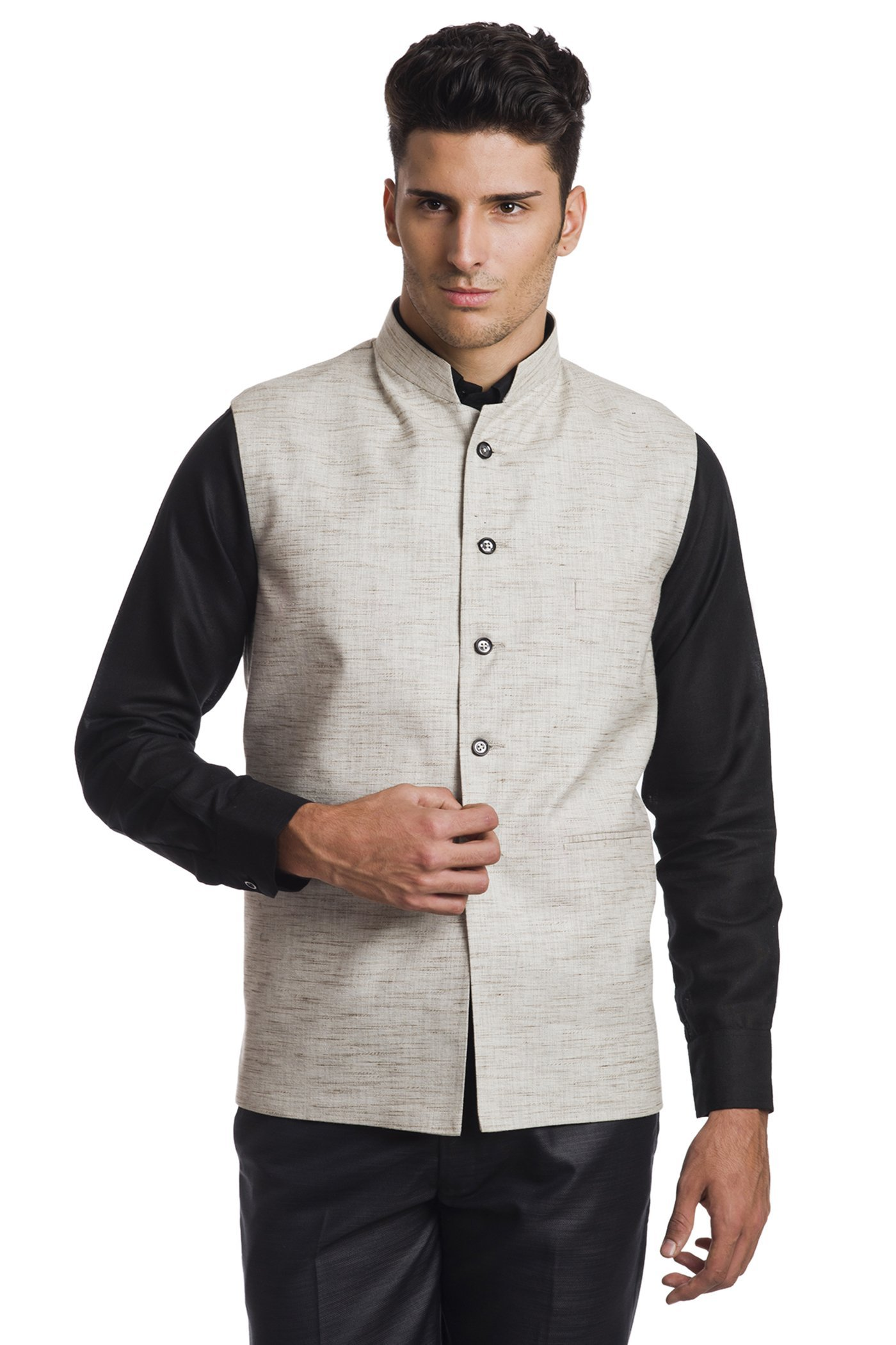 Wintage Men's Linen Blend Bandhgala Festive Beige Nehru Jacket Waistcoat,Beige,42 US / Large