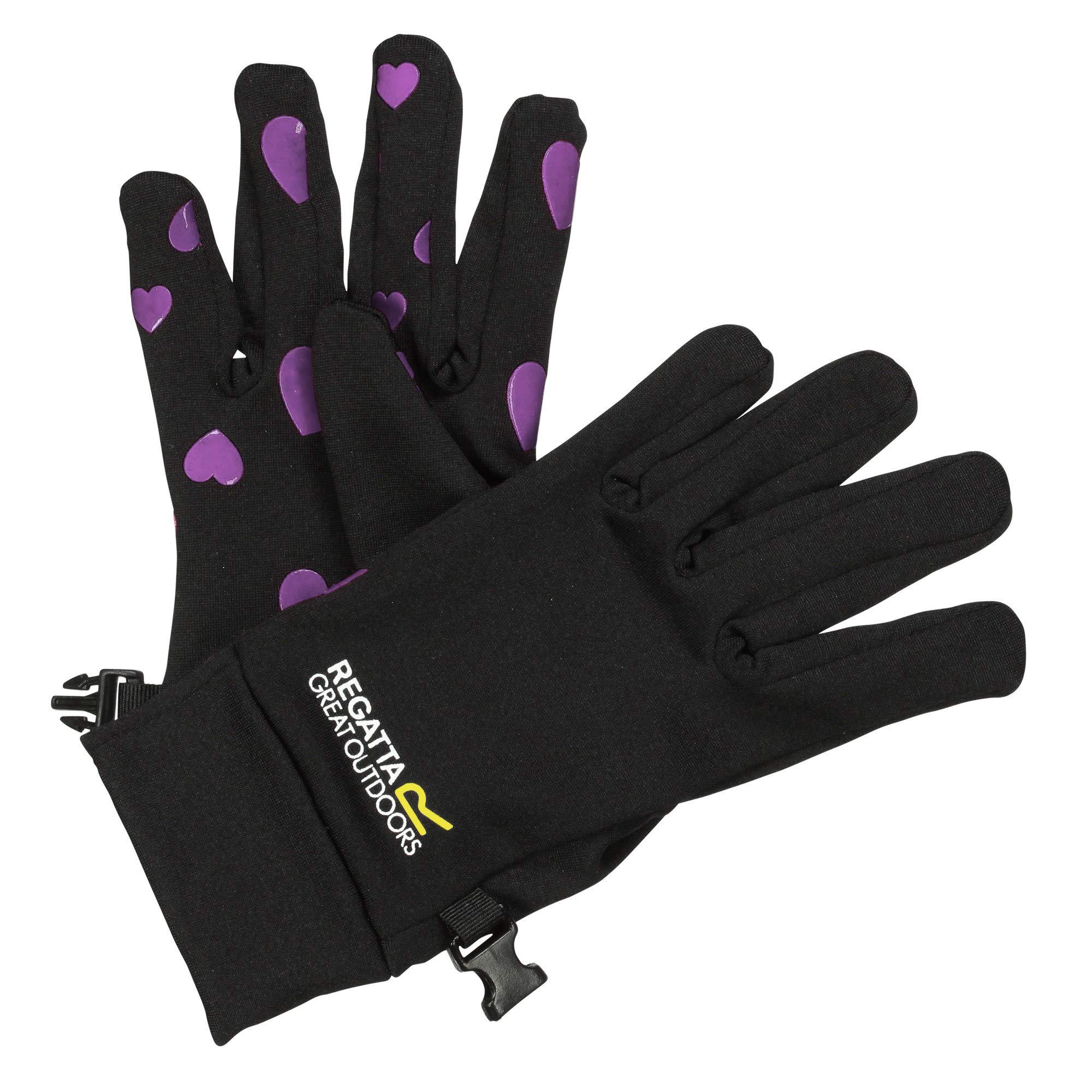 Regatta Kids Grippy Gloves Black/Oxford Blue 4-6