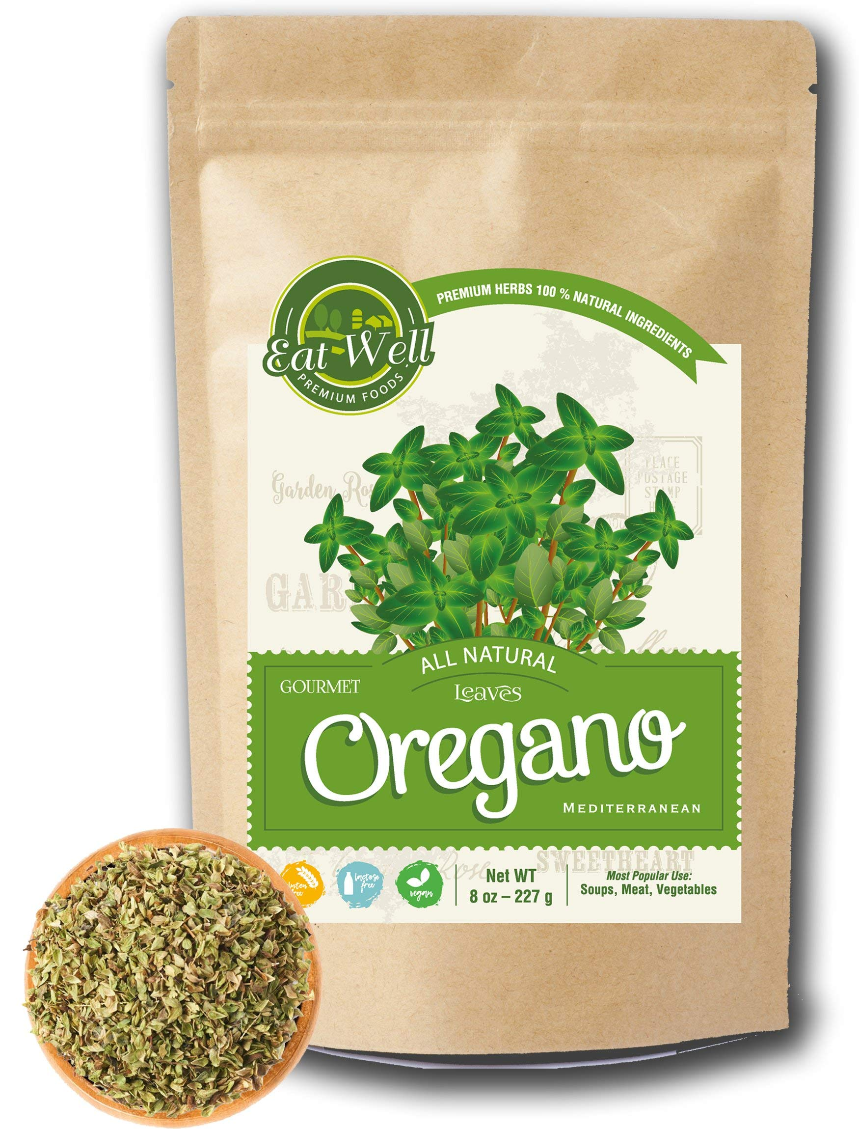 Oregano Leaves | 8 oz - 227 g Reseable Bag, Bulk | Mediterranean Natural Leaf |100% Natural Dried Oregano Leaves | Herbal Tea | Herbs & Spices | Eat Well Premium Foods